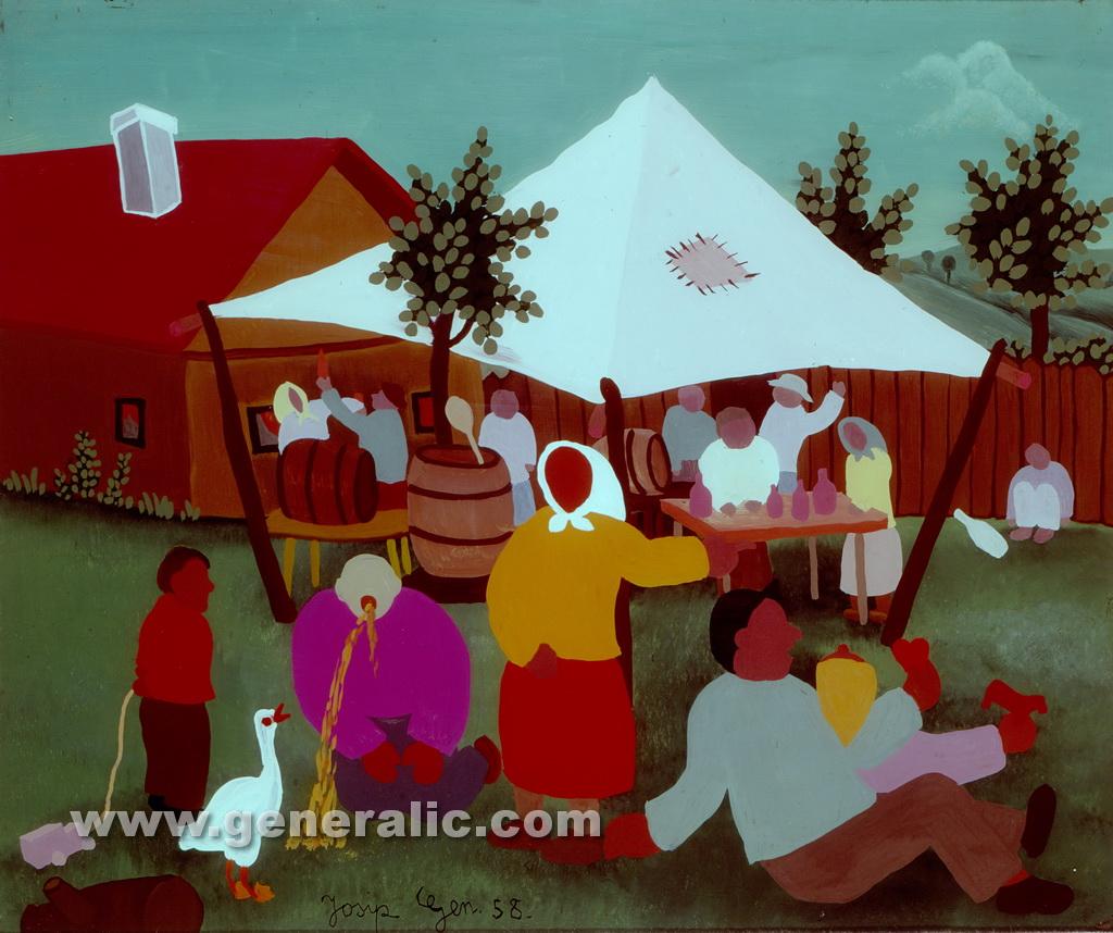 Josip Generalic, 1958, Village fair, oil on glass