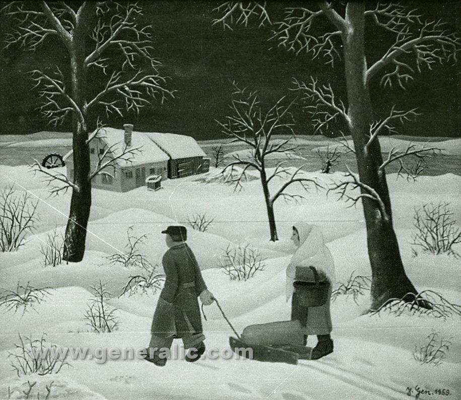 Josip Generalic, 1959, Sack on sledge, oil on canvas
