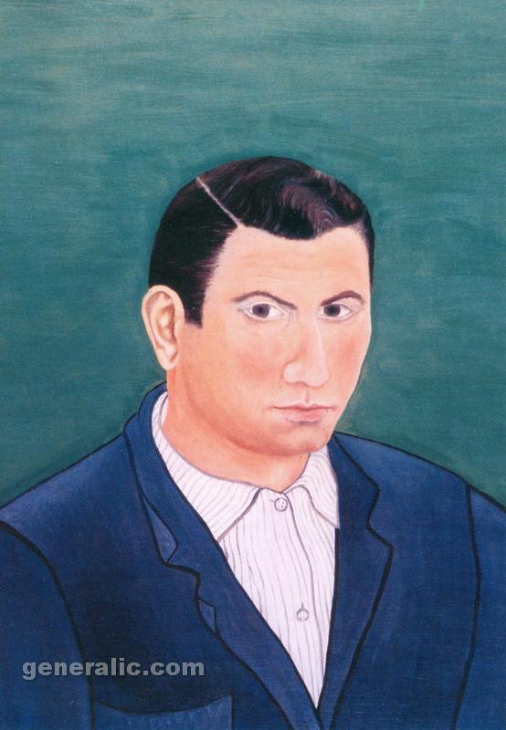 Josip Generalic, 1959, Self-portrait, oil on fibreboard, 55x41 cm