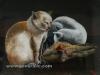 Josip Generalic, 1955, Cat and rabbit, oil on glass, 28x36 cm