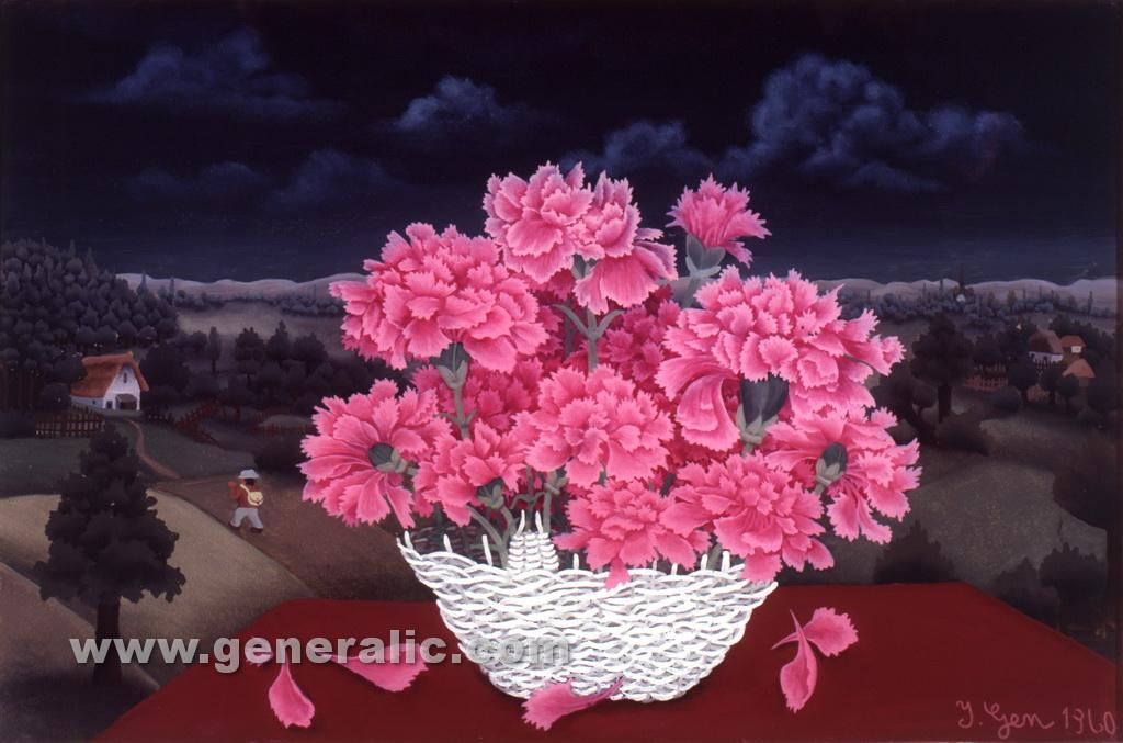 Ivan Generalic, 1960, Flowers on table, oil on glass