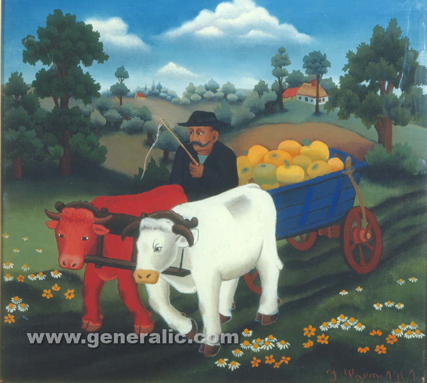 Ivan Generalic, 1961, Cows with pumpkins, oil on glass