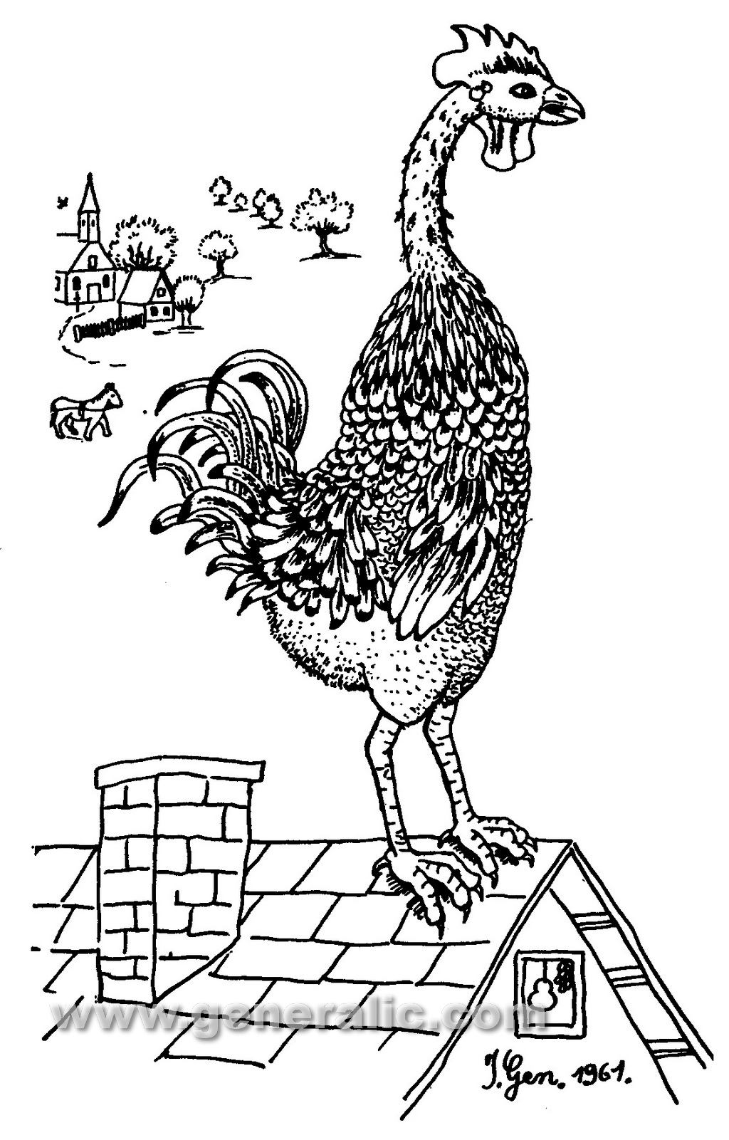Ivan Generalic, 1961, Rooster on a roof, drawing