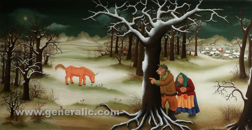 Ivan Generalic, 1961, The Unicorn, oil on glass, 76x145 cm