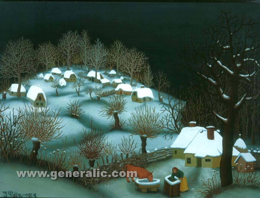 Ivan Generalic, 1961, Village in winter, oil on glass