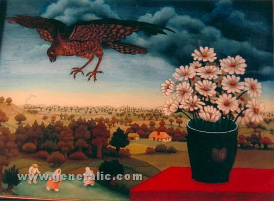 Ivan Generalic, 1962, Big bird, oil on glass, 35x43 cm