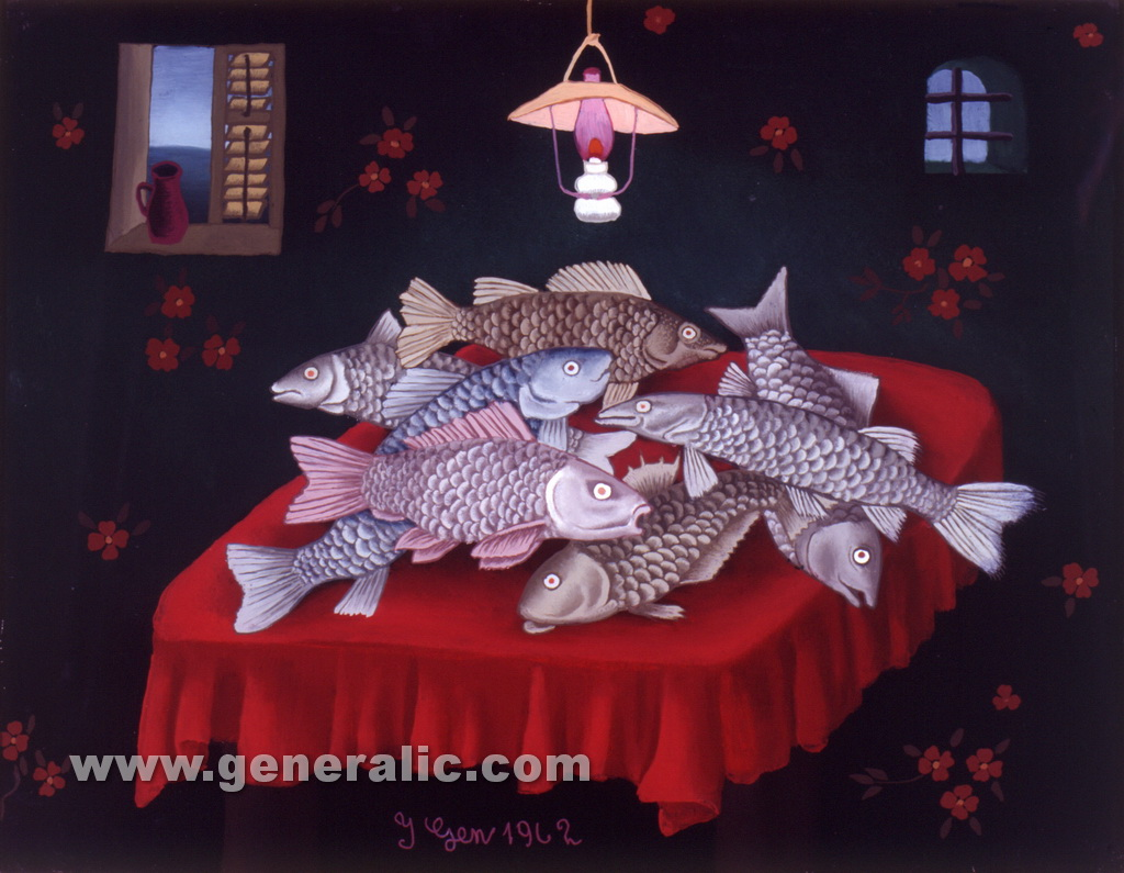 Ivan Generalic, 1962, Fish on a table, oil on glass