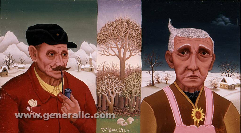 Ivan Generalic, 1964, Double portrait, oil on glass