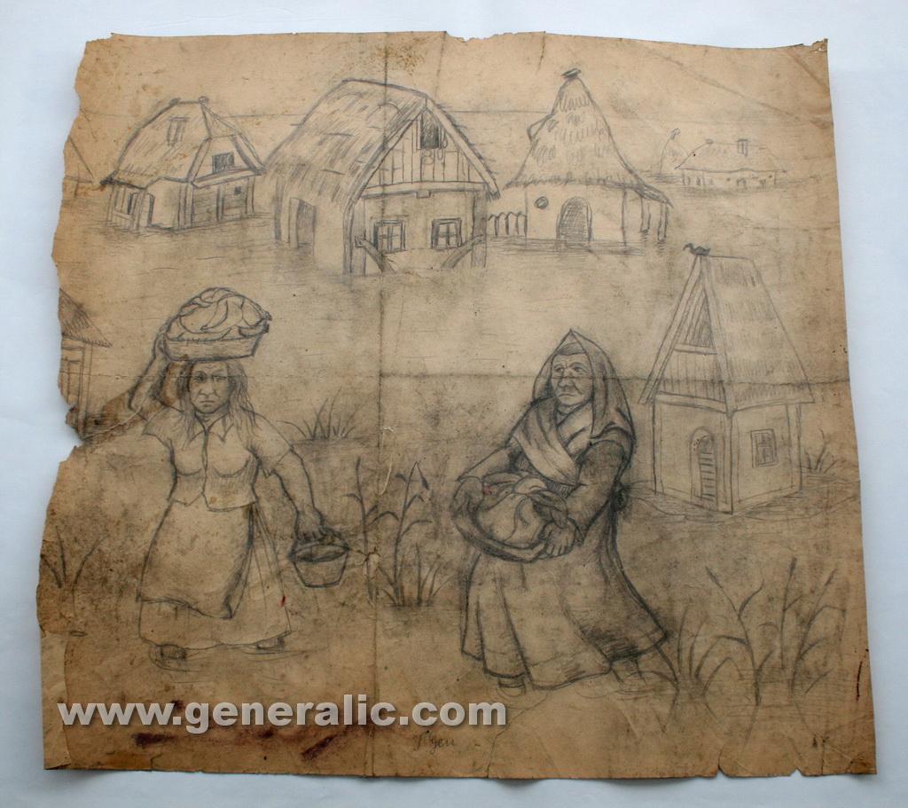 Ivan Generalic, 1964, Flood in village, drawing, 63x65 cm