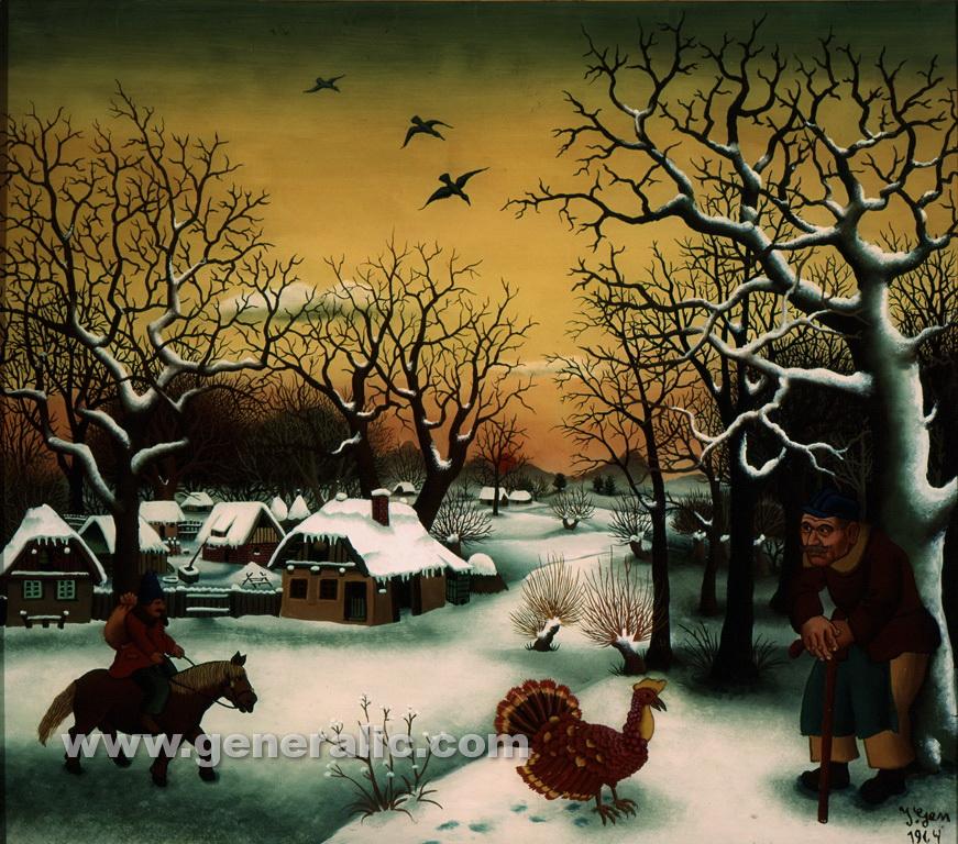 Ivan Generalic, 1964, Winter in village, oil on glass