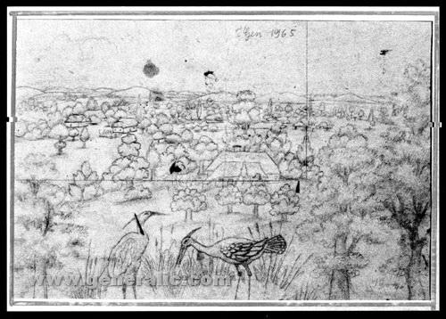 Ivan Generalic, 1965, Two storks, drawing