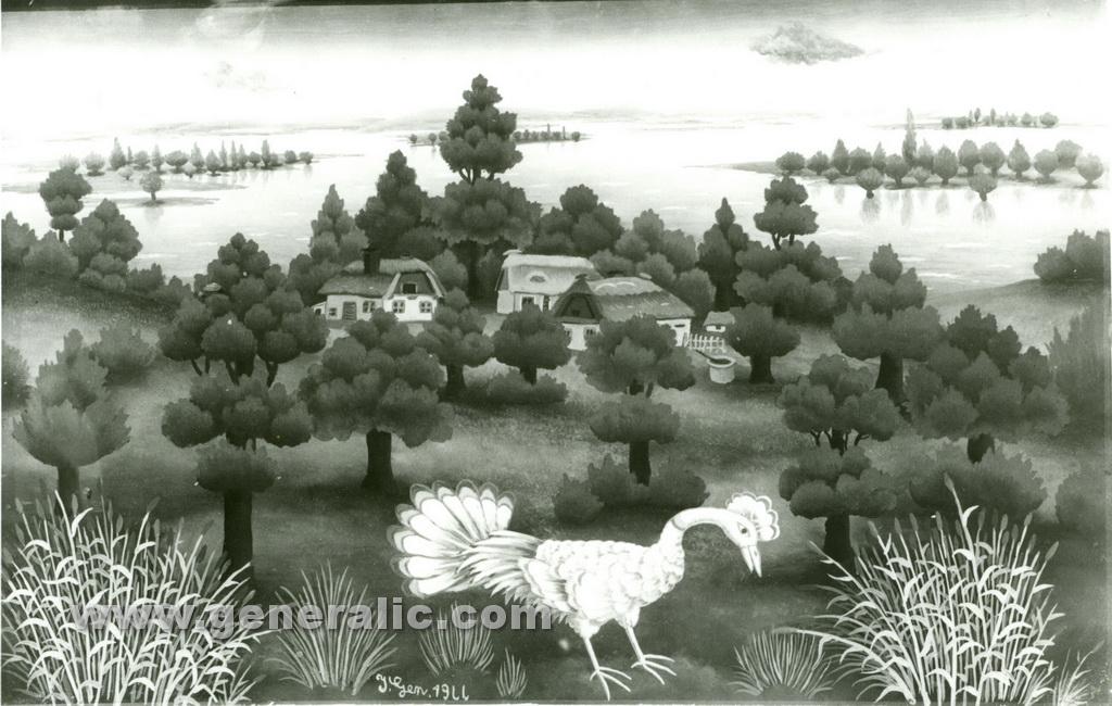 Ivan Generalic, 1966, Bird on a meadow, oil on glass