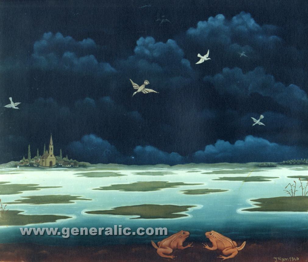 Ivan Generalic, 1966, Frogs, oil on glass