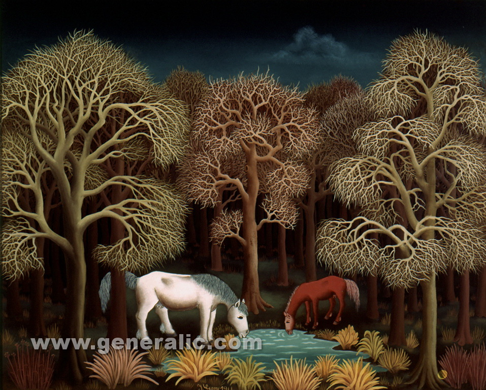 Ivan Generalic, 1966, Horses drinking in a forest, oil on glass