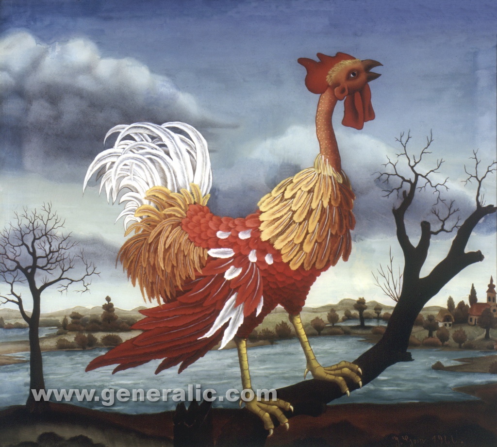 Ivan Generalic, 1966, The rooster, oil on glass, 85x95 cm