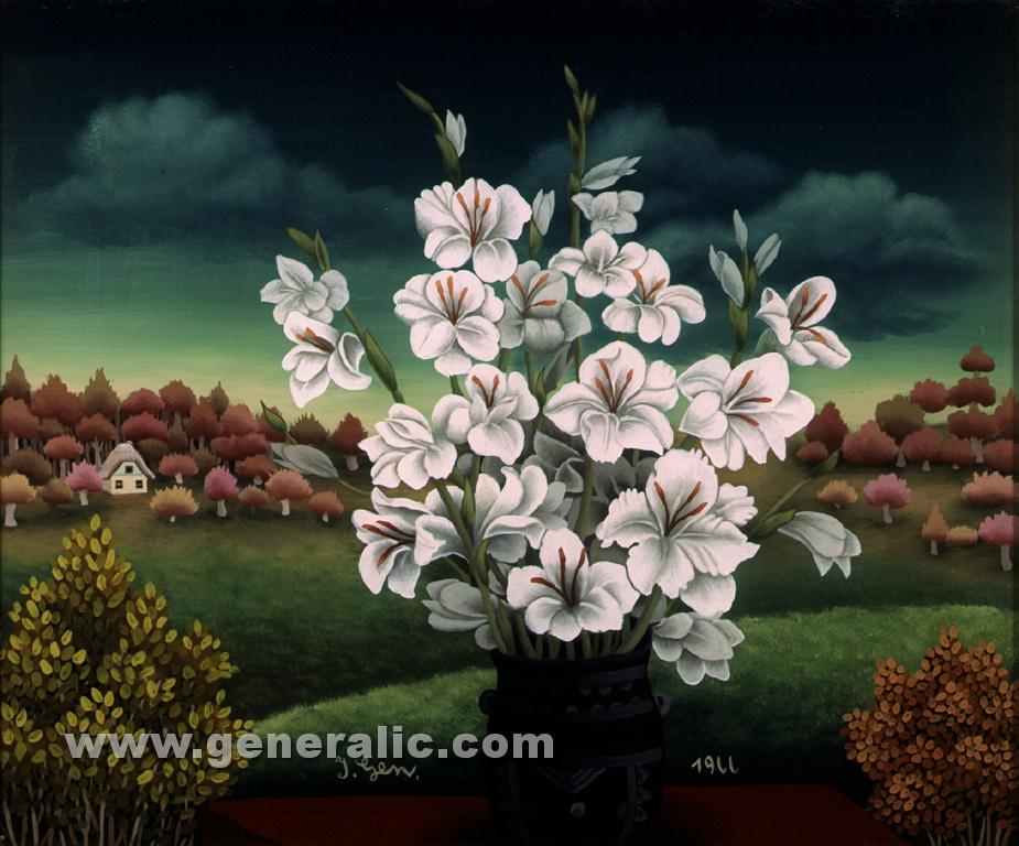 Ivan Generalic, 1966, White flowers, oil on glass