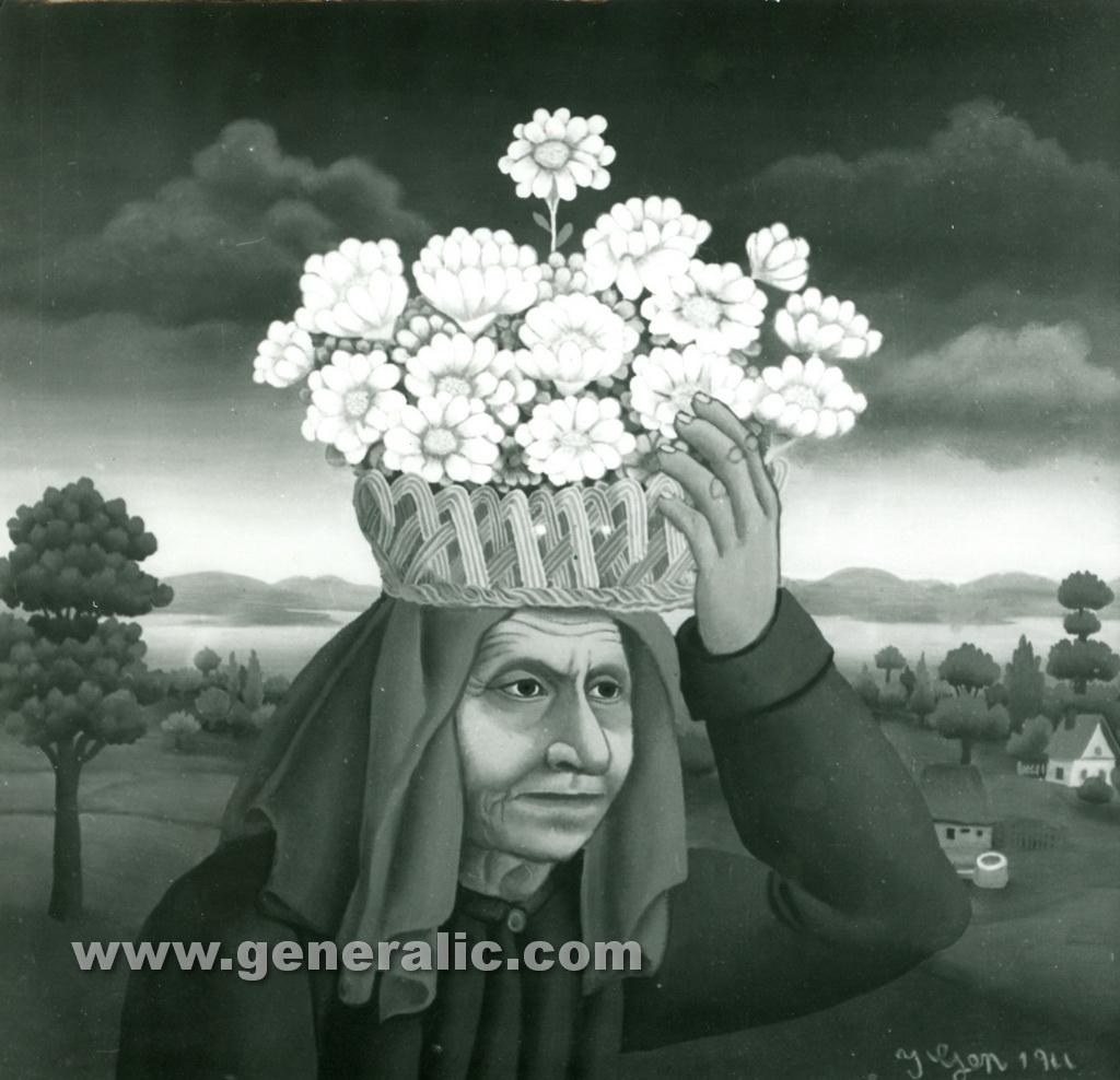 Ivan Generalic, 1966, Woman carrying flowers, oil on glass