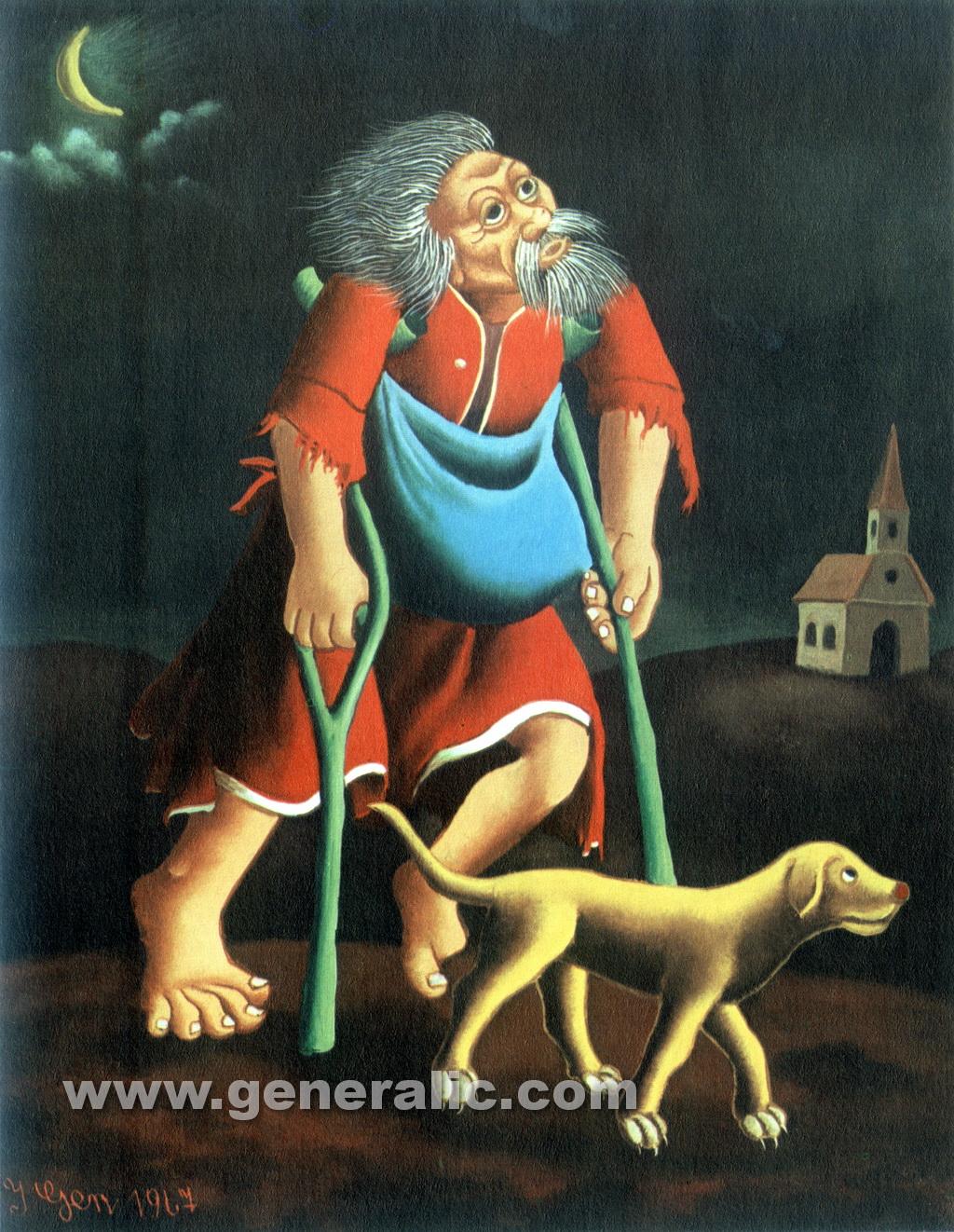 Ivan Generalic, 1967, Beggar on crutches, oil on glass