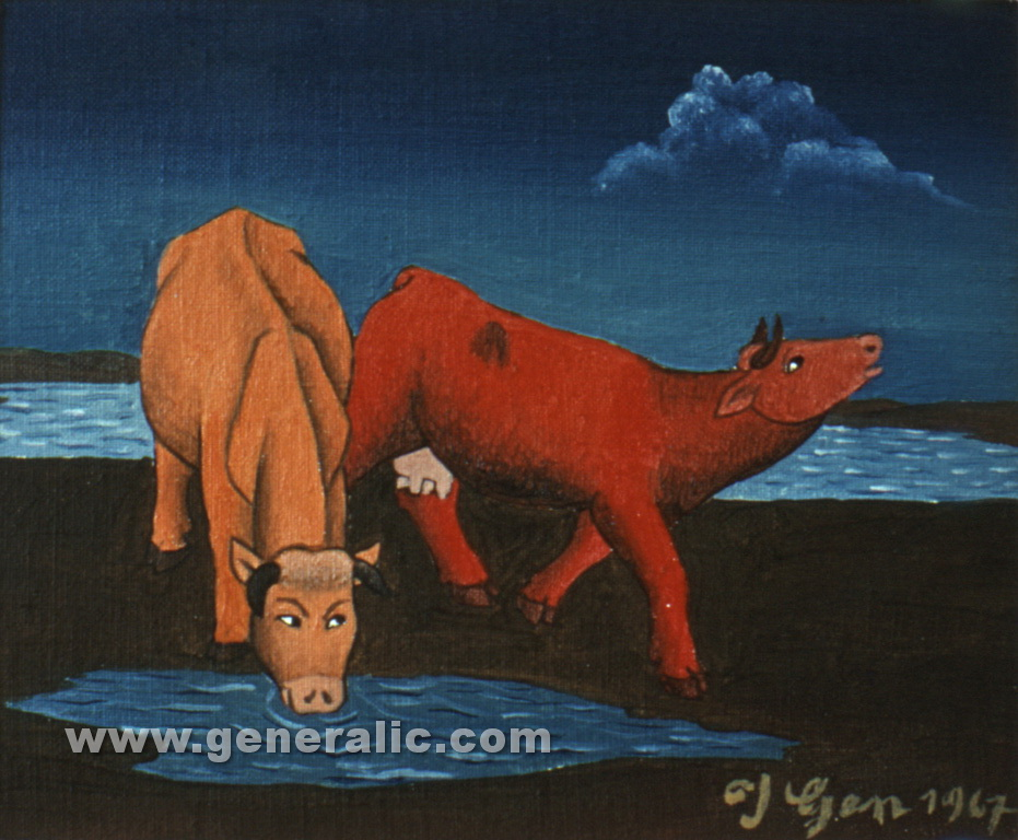 Ivan Generalic, 1967, Cows drinking water, oil on canvas