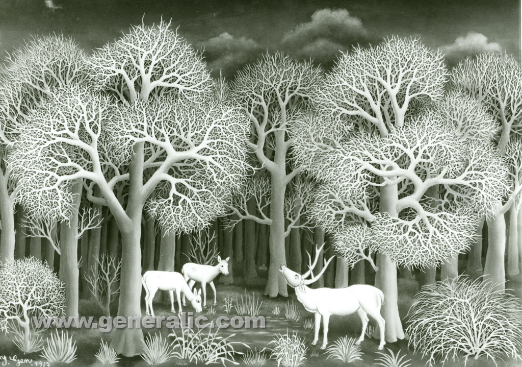 Ivan Generalic, 1967, Deers drinking water, oil on glass