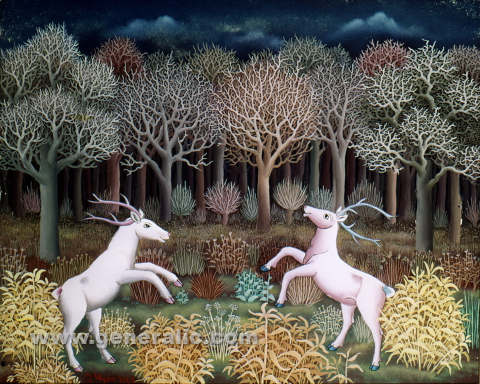 Ivan Generalic, 1967, Deers playing in forest, oil on glass