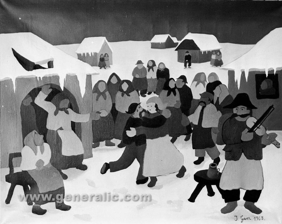 Ivan Generalic, 1968, Dancing in village, oil on canvas