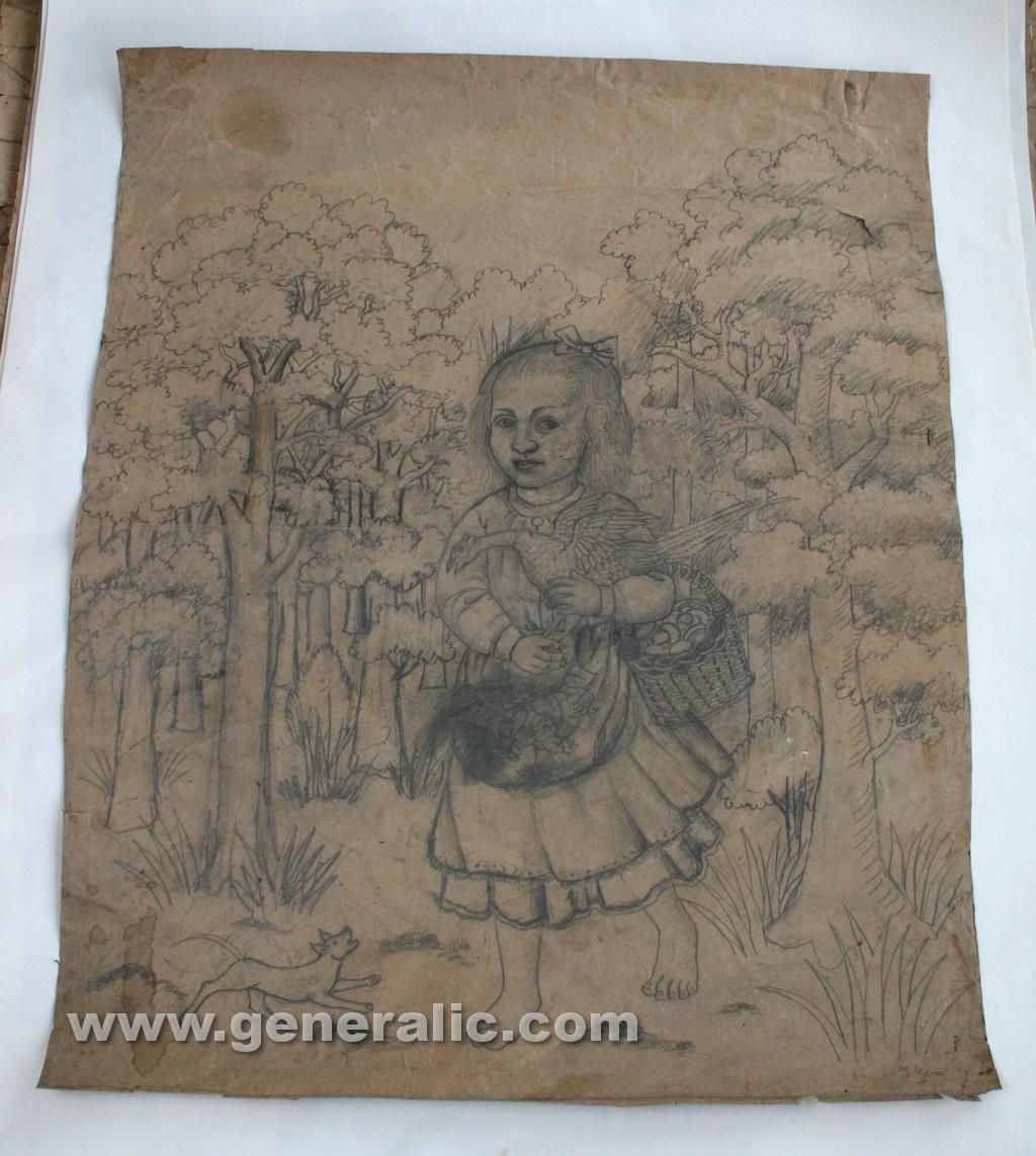 Ivan Generalic, 1968, Girl carrying a bird, drawing, 80x65 cm