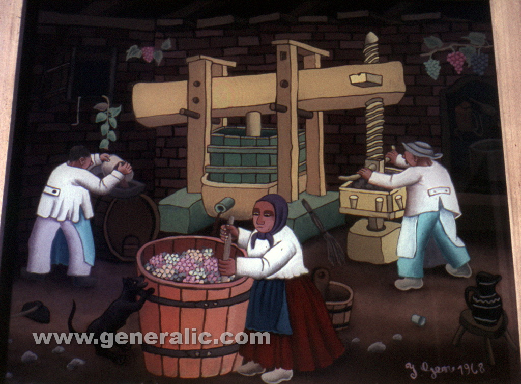 Ivan Generalic, 1968, Pressing the grapes, oil on glass