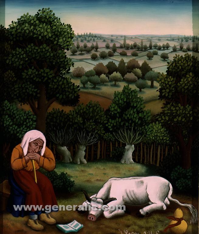 Ivan Generalic, 1968, Sleepy cow keeper, oil on glass