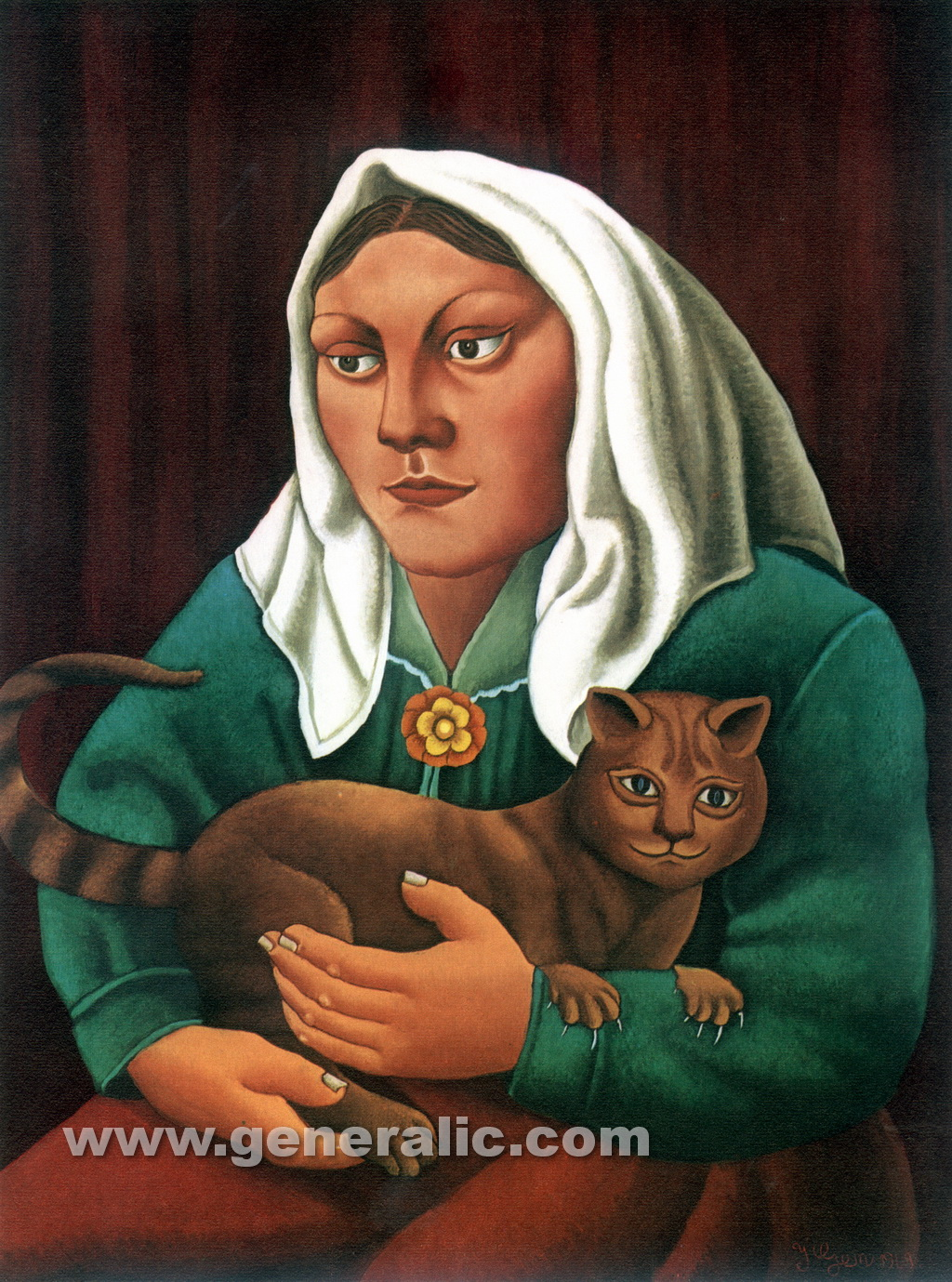 Ivan Generalic, 1969, Girl with a cat, oil on glass