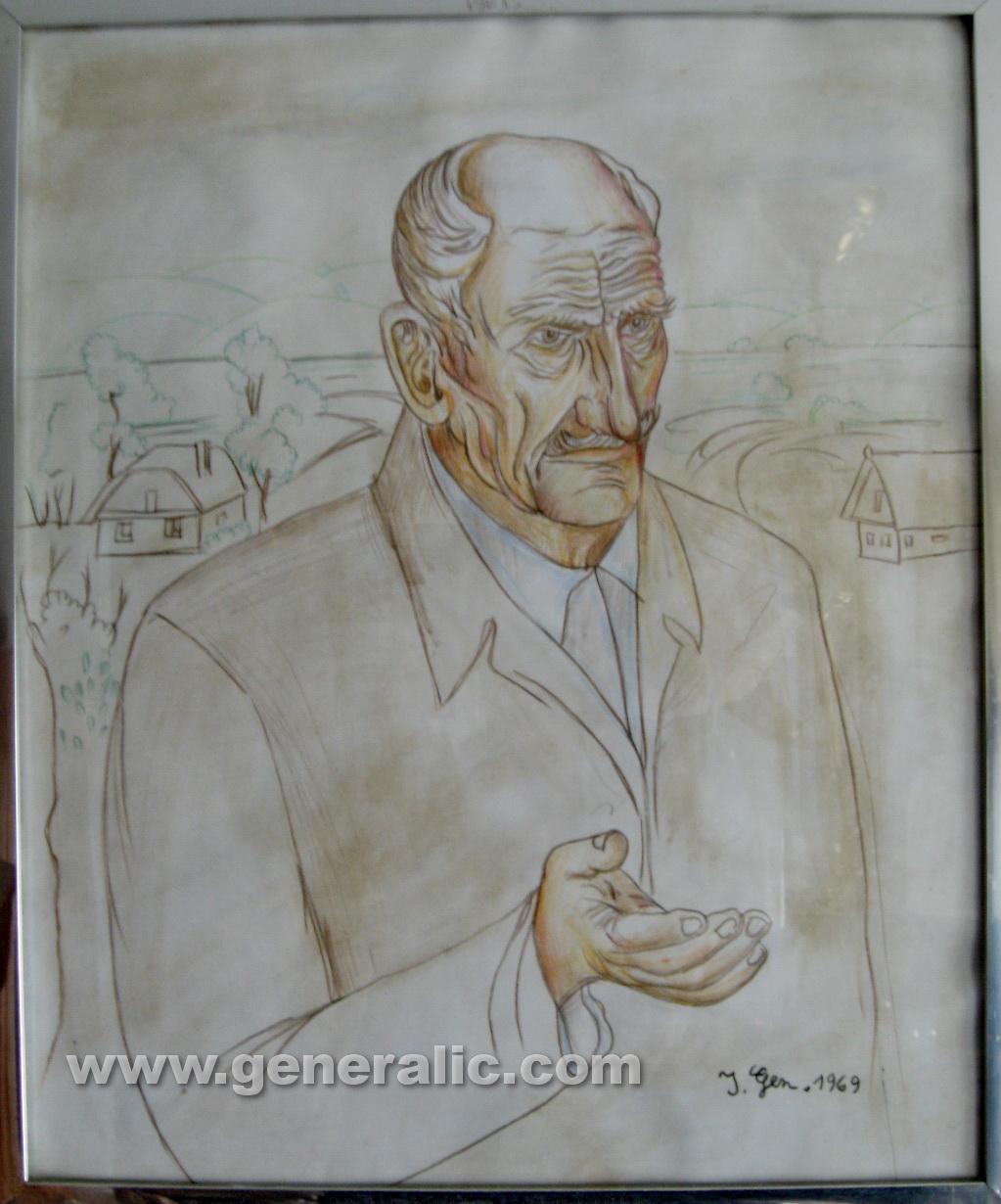 Ivan Generalic, 1969, portrait, drawing, watercolour