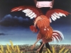Ivan Generalic, 1964, Crucified rooster, oil on glass