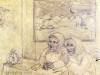 Ivan Generalic, 1965, Two women talking, pencil, 37x44 cm