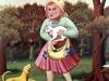 Ivan Generalic, 1967, Girl carrying rabbit, oil on glass