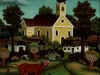 Ivan Generalic, 1968, Cows resting by the church, oil on glass