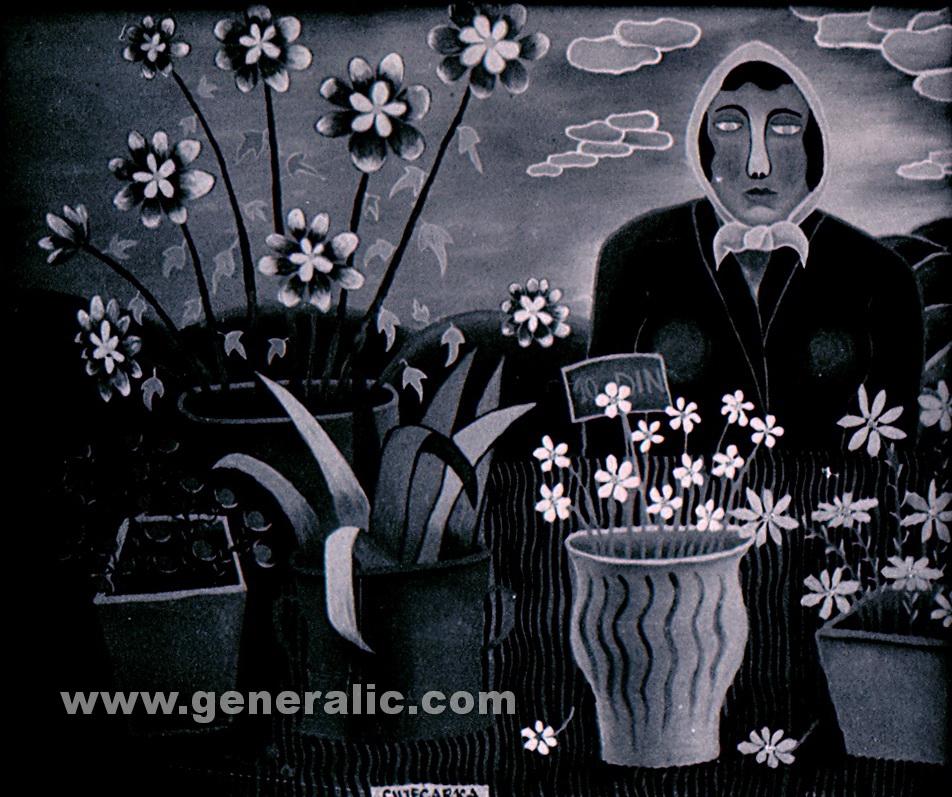 Josip Generalic, 1960, A florist, oil on glass