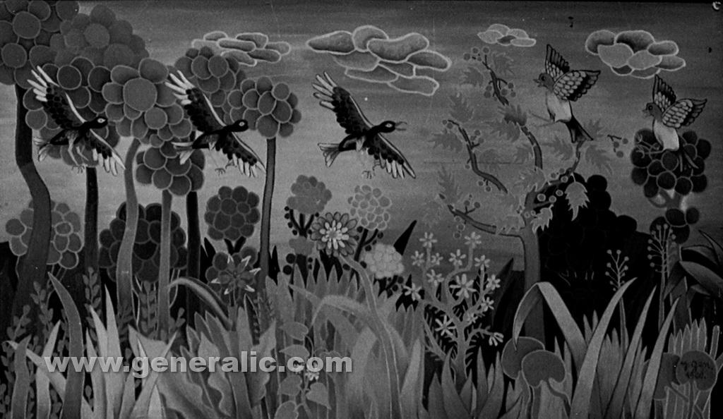 Josip Generalic, 1960, Birds, oil on glass