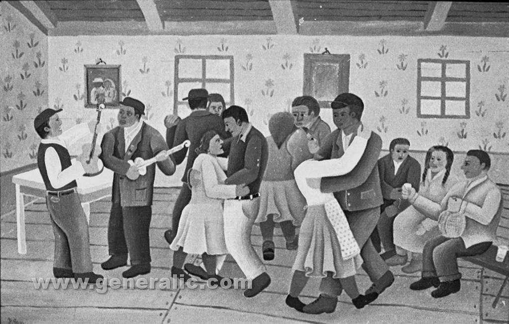 Josip Generalic, 1960, Dancing party, oil on glass