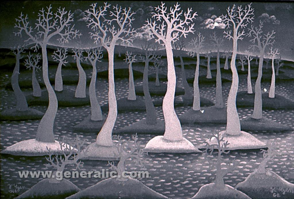 Josip Generalic, 1960, Flood, oil on glass