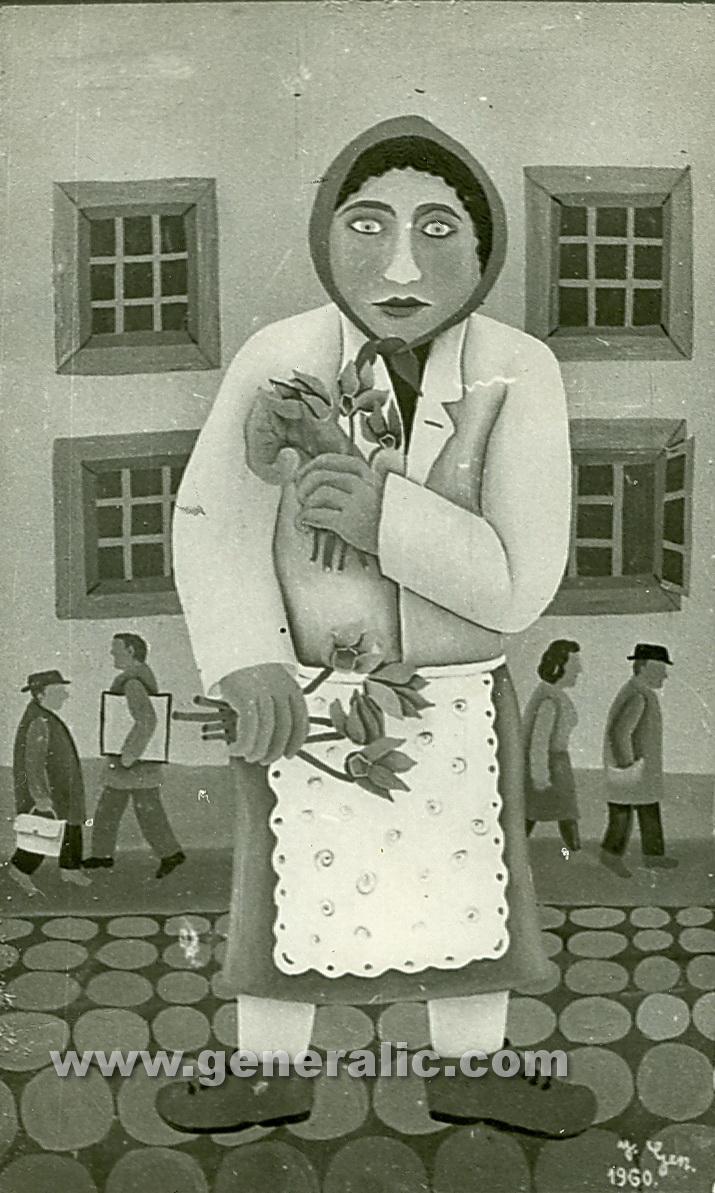 Josip Generalic, 1960, Florist in the city, oil on canvas