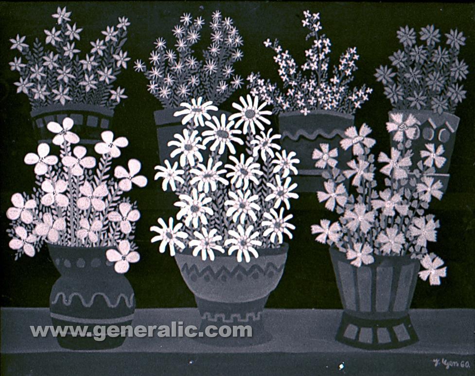 Josip Generalic, 1960, Flowers, oil on glass