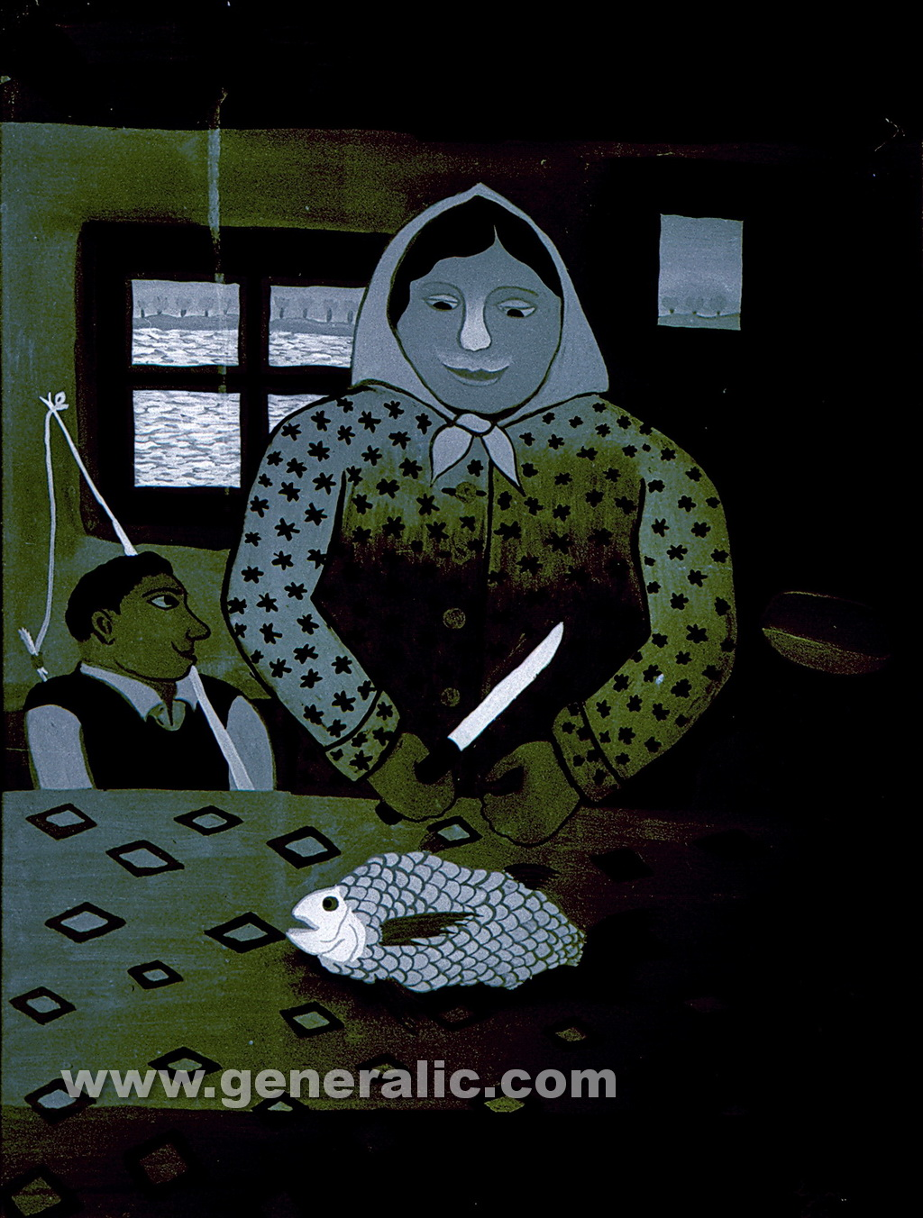 Josip Generalic, 1960, Preparing the fish, oil on glass