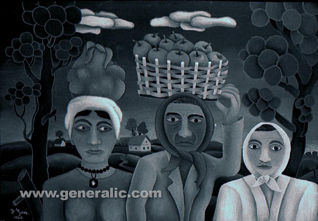Josip Generalic, 1960, Three women, oil on glass
