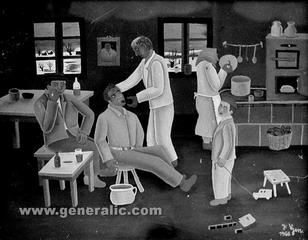 Josip Generalic, 1960, Village dentist, oil on glass