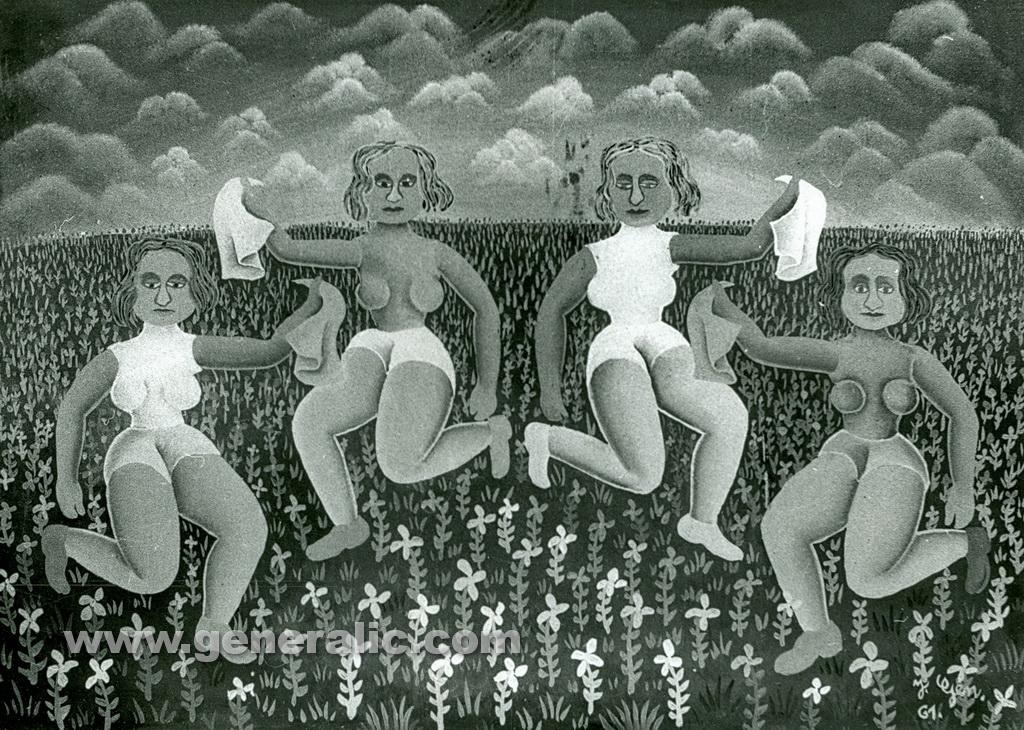 Josip Generalic, 1961, Dancers, oil on glass