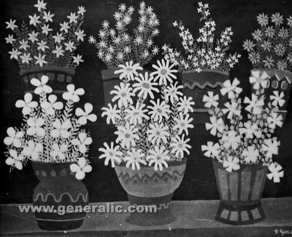 Josip Generalic, 1961, Flowers in seven pots, oil on glass