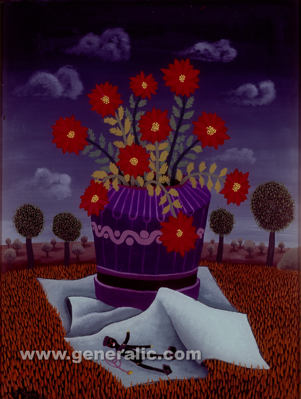 Josip Generalic, 1961, Flowers, oil on glass