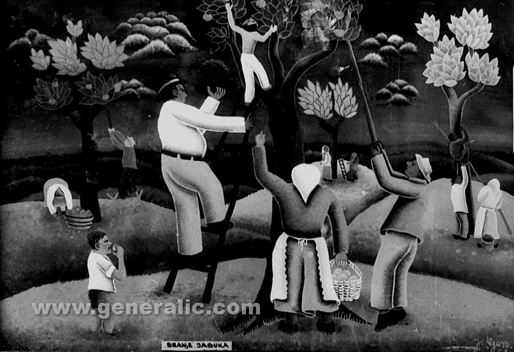 Josip Generalic, 1961, Picking apples, oil on glass