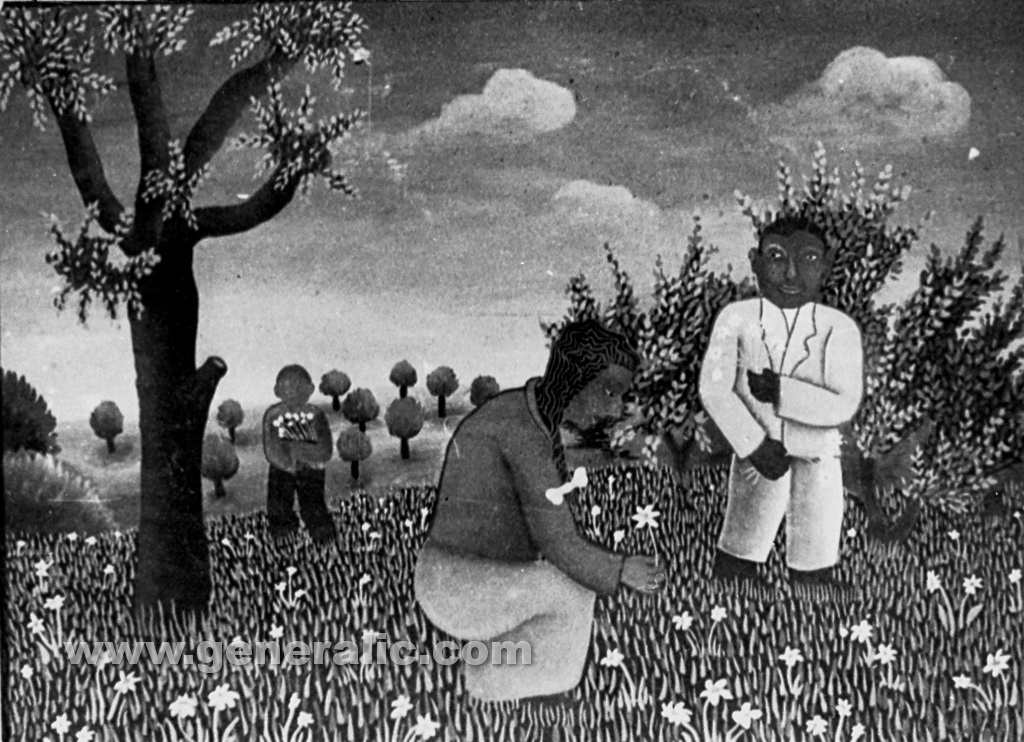 Josip Generalic, 1961, Picking up flowers, oil on canvas