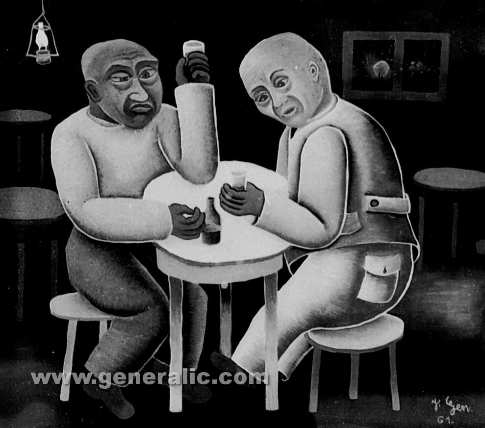 Josip Generalic, 1961, Rowdy men drinking, oil on canvas